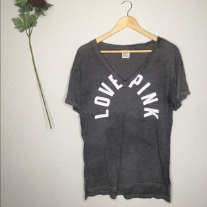 VS LOVE PINK Grey burnout split neck graphic tee